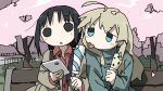 2girls :o :p ahoge alternate_costume bangs beige_coat bench black_eyes black_hair blonde_hair blouse blue_blouse blue_eyes casual cellphone cherry_blossoms chito_(shoujo_shuumatsu_ryokou) coat collared_shirt contemporary food hair_between_eyes hair_tie hand_up hands_up highres holding holding_food holding_phone long_hair long_sleeves looking_down looking_to_the_side low_twintails multiple_girls no_nose open_clothes open_coat open_mouth outdoors parted_bangs petals phone popsicle red_shirt shirt shoujo_shuumatsu_ryokou sidelocks sitting smartphone tareme tongue tongue_out tree tsukumizu_yuu turtleneck twintails upper_body v-shaped_eyebrows wavy_hair wind wing_collar yuuri_(shoujo_shuumatsu_ryokou)