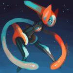 commentary creature deoxys deoxys_(speed) english_commentary full_body gen_3_pokemon no_humans pokemon pokemon_(creature) rubin signature solo space
