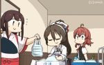 3girls ahoge akagi_(kantai_collection) apron arashi_(kantai_collection) ashigara_(kantai_collection) bangs blouse bow brown_eyes brown_hair closed_eyes collared_shirt commentary_request dated flying_sweatdrops food gloves hair_bow hairband hakama hakama_skirt hamu_koutarou highres indoors japanese_clothes kantai_collection leaning_forward long_hair long_sleeves looking_at_another messy_hair multicolored_bow multiple_girls muneate onion plump ponytail purple_apron red_skirt redhead shirt short_sleeves signature skirt sleeves_rolled_up smile standing straight_hair vest wavy_hair white_gloves white_hairband white_shirt wide_sleeves yellow_eyes