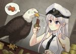 1girl azur_lane bald_eagle bird black_neckwear breasts dutch_angle eagle enterprise_(azur_lane) food grey_hair hat holding holding_food horyuu large_breasts military_hat peaked_cap rations shirt sleeveless sleeveless_shirt smile upper_body violet_eyes white_headwear