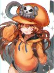 1girl anchor bike_shorts black_gloves black_sclera blush brown_eyes brown_hair fingerless_gloves gloves guilty_gear guilty_gear_strive hat highres long_hair looking_at_viewer may_(guilty_gear) open_mouth orange_headwear pirate_hat simple_background sketch skull_and_crossbones smile solo sutegoro white_background
