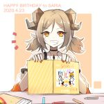 1girl arknights black_choker child_drawing choker commentary_request dated drawing eyebrows_visible_through_hair grey_hair grin horns ifrit_(arknights) looking_at_viewer low_twintails nail_polish orange_eyes orange_nails saria_(arknights) short_hair silence_(arknights) smile solo tianye_toshi twintails upper_body