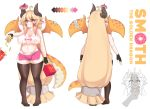 1girl absurdres ahoge bag bangs bare_arms big_hair black_gloves blonde_hair breasts character_name character_sheet closed_mouth color_guide commentary covered_nipples doggopancake doughnut dragon_girl dragon_horns dragon_tail dragon_wings fang fingerless_gloves food french_fries from_behind full_body gloves groin hair_between_eyes highres holding holding_bag holding_food horns large_breasts long_hair low-tied_long_hair midriff multiple_views orange_eyes original pink_skirt plump pointy_ears sandwich scales sidelocks simple_background skin_fang skirt smile standing sweat sweating_profusely tail tank_top thick_eyebrows thigh-highs v-shaped_eyebrows very_long_hair white_background wings