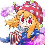 1girl american_flag_dress american_flag_legwear avatar_icon blonde_hair chamaji clownpiece dress fairy_wings fang fire hair_between_eyes hat holding jester_cap looking_at_viewer lowres neck_ruff pantyhose polka_dot red_headwear short_dress short_sleeves simple_background smile solo star star_print striped torch touhou white_background wings