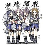 4girls adapted_costume ahoge akebono_(kantai_collection) badge bandaid bandaid_on_face bell black_hair black_legwear blue_skirt brown_eyes brown_hair camisole character_name commentary_request facing_viewer flower full_body green_sailor_collar hair_bell hair_bobbles hair_flower hair_ornament highres jingle_bell kantai_collection kneehighs long_hair machinery momo_(higanbana_and_girl) multiple_girls o3o oboro_(kantai_collection) panties pink_eyes pink_hair pleated_skirt polka_dot polka_dot_panties purple_hair sailor_collar sazanami_(kantai_collection) school_uniform serafuku short_hair short_sleeves side_ponytail simple_background skirt torn_clothes twintails underwear ushio_(kantai_collection) very_long_hair violet_eyes white_background white_panties