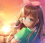 1girl a.i._channel adjusting_eyewear bangs black_gloves bracelet brown_hair dusk eyebrows_visible_through_hair fingerless_gloves floating_hair from_behind glasses gloves green_eyes green_jacket hairband highres jacket jewelry kizuna_ai long_hair looking_at_viewer looking_back outdoors pink_hairband red-framed_eyewear shinigami_(tukiyomiikuto) shiny shiny_hair short_sleeves solo tongue tongue_out upper_body very_long_hair