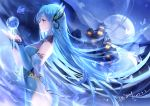 1girl 2019 blue_dress blue_eyes blue_hair blue_sleeves butterfly_hair_ornament cangqiong closed_mouth dated detached_sleeves dress floating_hair from_side full_moon hair_between_eyes hair_ornament long_hair long_sleeves moon profile side_slit sleeveless sleeveless_dress solo standing synthesizer_v very_long_hair yu_jiu