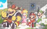 1girl blonde_hair blue_eyes bowser crown earrings jewelry long_hair luigi mario mario_(series) mario_tennis notice omochi_(glassheart_0u0) open_mouth outdoors princess_peach shoes sleeveless sneakers sportswear sweat tennis_uniform wall