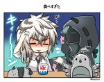 2boys animal animal_ears arknights arm_up bird black_jacket black_neckwear brain_freeze closed_eyes closed_mouth collared_shirt cup disposable_cup doctor_(arknights) grey_hair hand_on_own_head hood hood_up hooded_jacket jacket leopard_ears leopard_tail male_focus marshmallow_mille mouth_hold multicolored_hair multiple_boys necktie open_clothes open_jacket shaded_face shaved_ice shirt short_sleeves silverash_(arknights) spoon_in_mouth sweat tail tenzin_(arknights) translation_request twitter_username two-tone_hair white_hair white_shirt