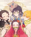 1girl 3boys :d ^_^ acorn agatsuma_zenitsu bamboo bangs birthday bit_gag black_hair blonde_hair blue_kimono blush brown_hair checkered_jacket closed_eyes commentary floral_print flower gag gradient_hair green_eyes green_scarf hair_flower hair_ornament hair_ribbon hashibira_inosuke highres holding_acorn jacket japanese_clothes kamado_nezuko kamado_tanjirou kimetsu_no_yaiba kimono koame_1027 long_hair long_sleeves looking_at_another mask mask_on_head mask_removed multicolored_hair multiple_boys open_mouth pink_eyes pink_kimono pink_ribbon print_scarf red_flower ribbon scarf smile sparkle thick_eyebrows white_jacket wide_sleeves yellow_eyes yukata