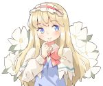 alice_margatroid arnest blonde_hair blue_dress blue_eyes blush bow bowtie capelet collared_shirt dress eyebrows_visible_through_hair finger_to_chin flower hairband lolita_hairband long_hair long_sleeves looking_to_the_side red_bow shanghai_doll shirt simple_background smile touhou white_background white_capelet white_shirt