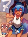 1girl 2others absurdres animal_ears apron arm_up armpits blue_apron blue_eyes blue_hair blush brand_new_animal doubutsu_no_mori furry highres kagemori_michiru mamekichi_(doubutsu_no_mori) multiple_others one_eye_closed open_mouth raccoon_ears raccoon_girl raccoon_tail short_hair short_shorts shorts tab_head tail tank_top tanuki tsubukichi_(doubutsu_no_mori) waist_apron white_tank_top