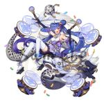 1girl ;d black_gloves blue_hair confetti detached_sleeves double_bun dragon drumsticks dual_wielding eastern_dragon eclipse_isle elbow_gloves full_body gloves holding ibex official_art one_eye_closed open_mouth partly_fingerless_gloves red_eyes sample simple_background sitting smile thigh-highs watermark white_background white_legwear