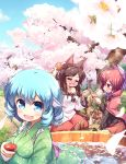 3girls :d =_= animal_ear_fluff animal_ears arms_up black_shirt blanket blue_eyes blue_hair blue_sky blush boned_meat brooch brown_hair bucket cape cherry_blossoms closed_eyes clouds commentary_request cup day dress drill_hair drunk fang floral_print food grass grass_root_youkai_network green_kimono hair_ribbon hanami head_fins highres holding holding_cup holding_food imaizumi_kagerou in_bucket in_container in_water isu_(is88) japanese_clothes jewelry kappamaki kimono layered_dress long_hair looking_at_another looking_at_viewer makizushi meat mermaid monster_girl multiple_girls obentou obi on_ground open_mouth outdoors partially_submerged petals petals_on_liquid pouring red_cape red_skirt redhead ribbon sakazuki sash sekibanki shawl shirt short_hair sitting skirt sky smile sushi tail tokkuri touhou tree wakasagihime wariza wolf_ears wolf_tail yokozuwari