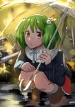 1girl alternate_costume boots green_hair hair_ornament highres holding holding_umbrella looking_at_viewer macross macross_frontier orange_eyes outdoors pote-mm puddle rain ranka_lee short_hair solo squatting umbrella water