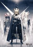 3girls animal_ear_fluff animal_ears arknights bangs black_cape black_dress black_footwear black_gloves black_scarf boots breastplate cape chinese_commentary closed_eyes commentary_request copyright_name dress eyebrows_visible_through_hair from_side full_body gloves gravel_(arknights) headphones headset high_heel_boots high_heels highres holding holding_sword holding_weapon long_hair long_ponytail multiple_girls nearl_(arknights) pink_hair planted_sword planted_weapon platinum_(arknights) ponytail profile reflection ryuuzaki_ichi scarf silver_hair standing sword weapon white_cape