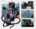 >_< 1girl 1other :t absurdres artist_name bike_shorts black_sclera blue_skin character_request commentary copyright_name cropped_legs danielle_brindle death_stranding english_text furrowed_eyebrows highres hood hoodie horns huge_filesize jacket long_hair looking_at_viewer monster_girl o_o personification rain tentacle_hair umbilical_cord