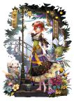 1girl barefoot bird breasts day dress fantasy flower green_eyes hair_between_eyes hair_flower hair_ornament hand_up highres horn lamppost medium_breasts original outdoors redhead sho_(sumika) short_hair smile solo stairs tassel youkai