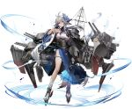 1girl ahoge azur_lane bare_legs bare_shoulders black_gloves breasts cannon cape choker detached_sleeves floating_hair fox_mask fox_tail gloves grey_hair hair_between_eyes hakama_skirt highres holding katana kitsune large_breasts liduke long_hair looking_at_viewer low_ponytail machinery mask mask_on_head mast multiple_tails nontraditional_miko official_art pleated_skirt rudder_footwear shirt side_slit sideboob single_glove skindentation skirt sleeveless sleeveless_shirt sleeveless_turtleneck socks solo sword tabi tail tassel thigh_strap thighs tosa_(azur_lane) transparent_background turret turtleneck underbust violet_eyes weapon white_legwear white_shirt wide_sleeves