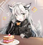 1girl animal_ears arknights bangs black_jacket cake commentary_request eyebrows_visible_through_hair fingerless_gloves flying_sweatdrops food fork fruit gloves grey_eyes grey_gloves hair_between_eyes hair_ornament hairclip hand_up high_collar highres hjhhzb holding holding_fork huge_filesize indoors jacket lappland_(arknights) long_hair long_sleeves looking_at_viewer open_mouth partial_commentary plate scar scar_across_eye silver_hair solo strawberry tail upper_body wolf_ears wolf_tail
