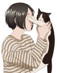 1girl animal black_hair cat covering_another's_eyes holding holding_animal holding_cat mattaku_mousuke original shirt short_hair striped striped_shirt upper_body white_background