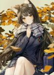 1girl alternate_costume animal_ear_fluff animal_ears bag bangs black_hair blue_sweater blush branch breasts cat_ears commentary_request eyebrows_visible_through_hair girls_frontline grey_background grey_scarf hair_ornament highres large_breasts leaf long_hair long_sleeves minncn plaid plaid_skirt qbz-95_(girls_frontline) scarf school_bag school_uniform skirt smile solo sweater yellow_eyes