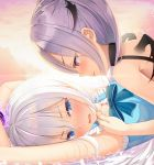 2girls :d arms_up bed_sheet blue_eyes blue_ribbon blush highres looking_at_another lying multiple_girls neck_ribbon on_back open_mouth original purple_hair red_eyes restrained ribbon shinigami_(tukiyomiikuto) shiny shiny_hair short_hair silver_hair smile upper_body wavy_mouth yuri