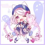 1girl ;d animal_ears bangs bell beret between_fingers blue_bow blue_footwear blue_headwear blue_skirt bow braid chibi commentary_request egasumi eyebrows_visible_through_hair fake_animal_ears full_body ghost hair_ornament hair_ribbon hairclip hat holding jingle_bell long_hair long_sleeves nazuna_shizuku nijisanji ofuda one_eye_closed open_mouth outstretched_arm pink_hair pleated_skirt red_ribbon ribbon shiina_yuika shoes skirt smile solo swept_bangs thigh-highs twin_braids twintails very_long_hair violet_eyes virtual_youtuber white_background white_legwear x_hair_ornament