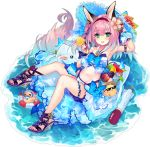1girl :d animal_ears aqua_eyes arm_up armpits azur_lane bare_shoulders basket bikini bird blue_bow bow bracelet cherry_blossoms chick deal_with_it food fox_ears fox_girl fox_tail fruit grapes hair_ornament hairband halter_top halterneck hanazuki_(azur_lane) hanazuki_(morning_moon_beachside_flower)_(azur_lane) highleg highleg_bikini highres holding jewelry long_hair looking_at_viewer manjuu_(azur_lane) multi-strapped_bikini nail_polish navel official_art open_mouth pink_hair popsicle red_nails sandals shirokitsune smile solo stomach stuffed_animal stuffed_toy sunglasses swimsuit tail thighs toenails torpedo transparent_background water white_bikini