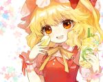 1girl blonde_hair cup disposable_cup drinking_straw flandre_scarlet food fruit hands_up hat highres holding holding_cup holding_food lemon lemon_slice looking_at_viewer macaron medium_hair mob_cap open_mouth red_eyes red_vest shirt short_sleeves shoudoku_taishi_(taishi) side_ponytail smile solo star starry_background touhou upper_body vest white_shirt wrist_cuffs yellow_neckwear