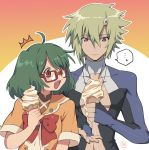... 1boy 1girl ahoge bespectacled blonde_hair bodysuit brera_sterne brother_and_sister fang food glasses green_hair holding holding_food ice_cream ice_cream_cone ice_cream_cone_spill kinako_(462) macross macross_frontier melting open_mouth ranka_lee red_eyes school_uniform shiny shiny_clothes short_hair siblings skin_tight soft_serve