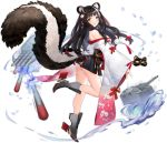 1girl animal_ear_fluff animal_ears ass azur_lane bare_shoulders black_hair black_skirt boots breasts brown_eyes floating_hair flower from_behind full_body grey_footwear hair_flower hair_ornament high_heels highres japanese_clothes kimono large_breasts leg_up legs long_hair long_sleeves long_tail looking_back miniskirt multicolored_hair naganami_(azur_lane) no_panties off_shoulder official_art open_mouth sideboob skirt skunk_ears skunk_tail smile solo standing standing_on_one_leg streaked_hair suisai tail thighs torpedo transparent_background two-tone_hair white_hair wide_sleeves