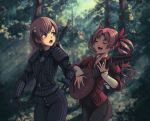 2020 2girls armor blurry blurry_background blush bow brown_eyes brown_hair closed_eyes commission cosplay cowboy_shot depth_of_field flower forest geralt_of_rivia hair_flower hair_ornament hair_ribbon highres holding holding_instrument instrument julian_alfred_pankratz long_hair lute_(instrument) misaka_mikoto multiple_girls music nature parody playing_instrument red_ribbon ribbon shirai_kuroko short_hair shoulder_armor singing sword sword_behind_back the_witcher to_aru_kagaku_no_railgun to_aru_majutsu_no_index twintails twitter_username weapon zhvo