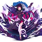 1girl alternate_costume azki_(hololive) azki_channel bare_shoulders blue_eyes dress elbow_gloves frills gloves hat highres hololive mikannsisyou multicolored_hair musical_note one_eye_closed open_mouth purple_gloves shoes solo staff_(music) tongue treble_clef upper_teeth virtual_youtuber