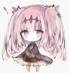 ! 1girl :< black_dress blush book brown_legwear chibi closed_mouth commentary_request cottontailtokki dress fran_(shadowverse) frilled_dress frills full_body grey_background grey_neckwear headpiece holding holding_book kneehighs long_hair long_sleeves neckerchief pink_hair puffy_long_sleeves puffy_sleeves shadowverse simple_background solo standing twintails very_long_hair violet_eyes