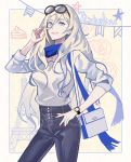 1girl alternate_costume bangs blonde_hair blue_eyes blue_scarf casual character_name dated denim eyewear_on_head hair_between_eyes hand_in_hair hand_on_hip jeans kantai_collection kasumi_(skchkko) long_hair looking_at_viewer mole mole_under_eye nail_polish pants pursed_lips red_nails richelieu_(kantai_collection) scarf solo watch watch white_background