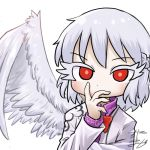1girl avatar_icon bow bowtie braid chamaji collared_shirt commentary covering_mouth eyebrows_visible_through_hair feathered_wings jacket kishin_sagume looking_at_viewer lowres red_eyes red_neckwear shirt short_hair signature single_wing solo suit_jacket touhou upper_body white_background white_hair wings