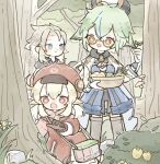 1boy 2girls ahoge albedo_(genshin_impact) animal animal_ears aqua_hair bangs berry blonde_hair blue_eyes brown_gloves bush closed_mouth clover day dress feathers flower forest four-leaf_clover genshin_impact glasses gloves green_hair grey_hair hat hat_feather highres insect_cage klee_(genshin_impact) lizard long_hair long_sleeves low_twintails multicolored_hair multiple_girls nature open_mouth outdoors red_dress red_eyes rock shionosuke standing streaked_hair sucrose_(genshin_impact) thigh-highs tree twintails white_gloves yellow_eyes