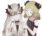 2girls :d ^_^ absurdres arknights arm_strap bangs bare_arms bare_shoulders black_choker blonde_hair brown_eyes camisole choker closed_eyes collarbone commentary_request criss-cross_halter enuai_(n.i) hair_between_eyes halterneck hand_up highres horns ifrit_(arknights) long_hair long_sleeves looking_at_another multiple_girls open_mouth saria_(arknights) shirt silver_hair simple_background smile spaghetti_strap upper_body white_background white_shirt wing_collar