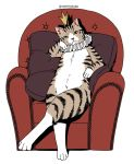 animal armchair cat chair collar crossed_legs crown frilled_collar frills looking_at_viewer mattaku_mousuke no_humans original pillow sitting solo white_background