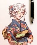 1girl blue_kimono clivenzu closed_mouth commentary english_commentary eyepatch floral_print flower hair_bun hair_flower hair_ornament highres japanese_clothes kimono long_sleeves looking_at_viewer medical_eyepatch obi one-eyed one_eye_covered original pen photo red_flower sash simple_background smile twitter_username upper_body violet_eyes watermark white_background white_flower white_hair