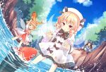 3girls ;d arms_up black_bow blonde_hair blue_bow blue_dress blue_eyes blue_sky boots bow brown_footwear brown_hair clouds cup day dress drill_hair fairy_wings fish hair_bow hat holding koi legs_apart long_hair luna_child multiple_girls nature one_eye_closed open_mouth orange_hair outdoors red_skirt sitting skirt sky smile splashing standing star_sapphire summer sunny_milk teacup touhou umi_suzume wading water white_dress white_headwear wide_sleeves wings yellow_eyes