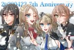 4girls anniversary bangs black_gloves black_hair blonde_hair blue_eyes blue_neckwear braid breasts brown_hair colorado_(kantai_collection) dated finger_to_mouth flower garrison_cap gloves green_eyes grey_headwear hat index_finger_raised kantai_collection long_hair machi_(ritovoyage) multiple_girls mutsu_(kantai_collection) nagato_(kantai_collection) necktie nelson_(kantai_collection) one_eye_closed open_mouth partly_fingerless_gloves red_flower red_neckwear red_rose remodel_(kantai_collection) rose short_hair smile twitter_username upper_body v violet_eyes white_gloves