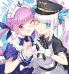 2girls ahoge apron aqua_eyes aqua_hair aqua_nails black_dress black_headwear black_neckwear blue_dress blue_neckwear blush bow bowtie braid breasts chinese_commentary controller directional_arrow dress drill_hair english_text eyebrows_visible_through_hair french_braid game_controller gloves hair_between_eyes hair_ribbon hat heart heart_hands heart_hands_duo heterochromia highres hololive kagura_mea kagura_mea_channel long_hair looking_at_viewer mahousho maid maid_apron maid_headdress medium_breasts minato_aqua mouse_(computer) multicolored_hair multiple_girls nail_polish neck_ribbon one_eye_closed open_mouth peaked_cap purple_hair ribbon short_sleeves silver_hair simple_background small_breasts smile streaked_hair twin_drills twintails two-tone_hair upper_body violet_eyes virtual_youtuber white_background white_gloves wing_collar wrist_cuffs yellow_eyes