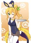 1girl animal_ears bunnysuit cocktail_glass cup drink drinking_glass eyebrows_visible_through_hair food fruit hair_bun hair_ornament hair_ribbon hinatsuki_mikan lemon long_hair machikado_mazoku open_mouth orange_hair rabbit_ears ribbon smile solo tray uitchu