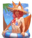 1girl animal_ears bikini bikini_under_clothes blue_bikini breasts day fate/grand_order fate_(series) fox_ears fox_tail hat hood_(james_x) innertube large_breasts long_hair looking_at_viewer pink_hair shirt smile solo straw_hat sun_hat swimsuit tail tamamo_(fate)_(all) tamamo_no_mae_(fate) tamamo_no_mae_(swimsuit_lancer)_(fate) wet wet_clothes wet_shirt yellow_eyes
