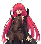 1girl alternate_costume bare_shoulders black_legwear bodysuit breasts hair_between_eyes holding holding_sword holding_weapon jewelry katana long_hair looking_at_viewer necklace ohlia parted_lips red_eyes redhead shakugan_no_shana shana simple_background small_breasts solo sword thigh-highs trench_coat very_long_hair weapon white_background
