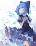 1girl alternate_costume bangs blue_bow blue_eyes blue_hair blue_skirt bow cirno commentary_request cowboy_shot eyebrows_visible_through_hair hair_between_eyes hair_bow hands_on_own_chest high-waist_skirt highres ice ice_wings own_hands_together parted_lips petticoat puffy_short_sleeves puffy_sleeves rin_falcon shirt short_hair short_sleeves skirt solo standing suspender_skirt suspenders touhou white_background wings