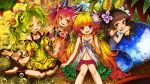 4girls ahoge bare_shoulders blonde_hair brown_hair dress duel_monster flower green_eyes green_hair hair_flower hair_ornament highres kazura_the_mesmerizing_maneater lithiumrider long_hair low_twintails multiple_girls navel open_mouth red_eyes redhead traptrix_dionaea traptrix_mantis traptrix_sera twintails violet_eyes yuu-gi-ou