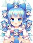 >_< 6+girls :3 :d ;d =_= ahoge blue_bow blue_dress blue_eyes blue_hair bow chibi chibi_on_head chibi_on_shoulder cirno closed_eyes collared_shirt commentary_request dress drooling eyebrows_visible_through_hair facing_viewer frilled_shirt_collar frills grin hair_bow ice ice_wings looking_at_viewer minigirl mouth_drool multiple_girls multiple_persona neck_ribbon on_head on_shoulder one_eye_closed open_mouth person_on_head pjrmhm_coa puffy_short_sleeves puffy_sleeves red_ribbon ribbon shirt short_hair short_sleeves sleeping sleeveless sleeveless_dress smile touhou triangle white_background white_shirt white_sleeves wings xd